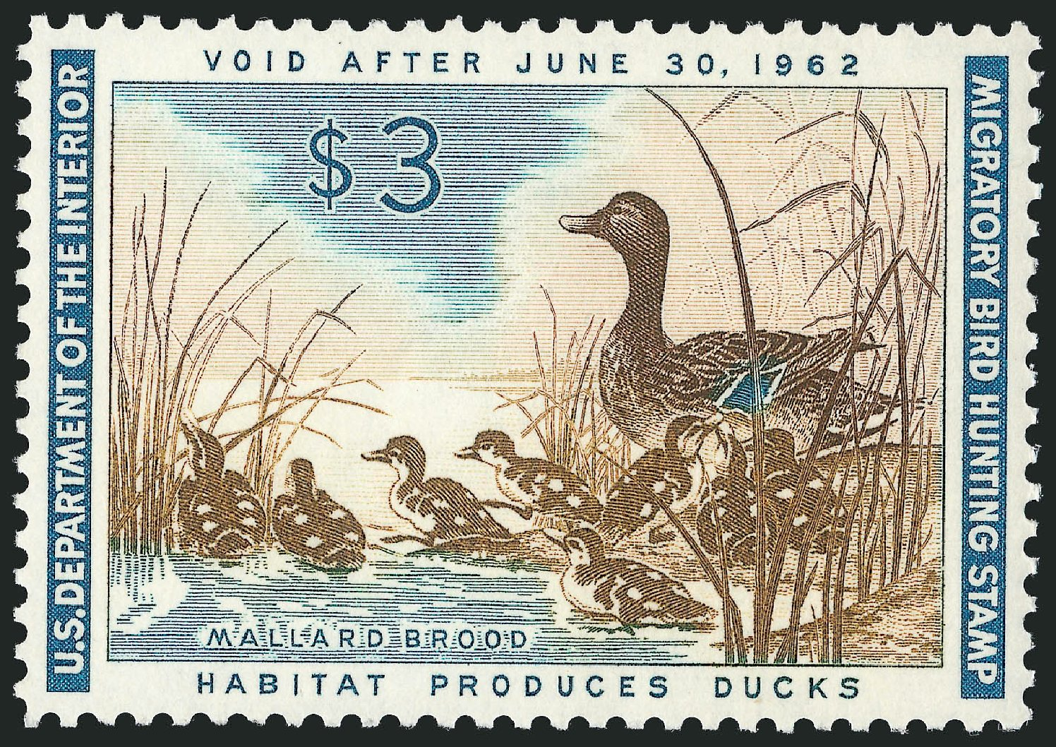 US Stamps Values Scott Catalogue #RW28 - 1961 US$3.00 Federal Duck Hunting. Robert Siegel Auction Galleries, Jun 2011, Sale 1011, Lot 965