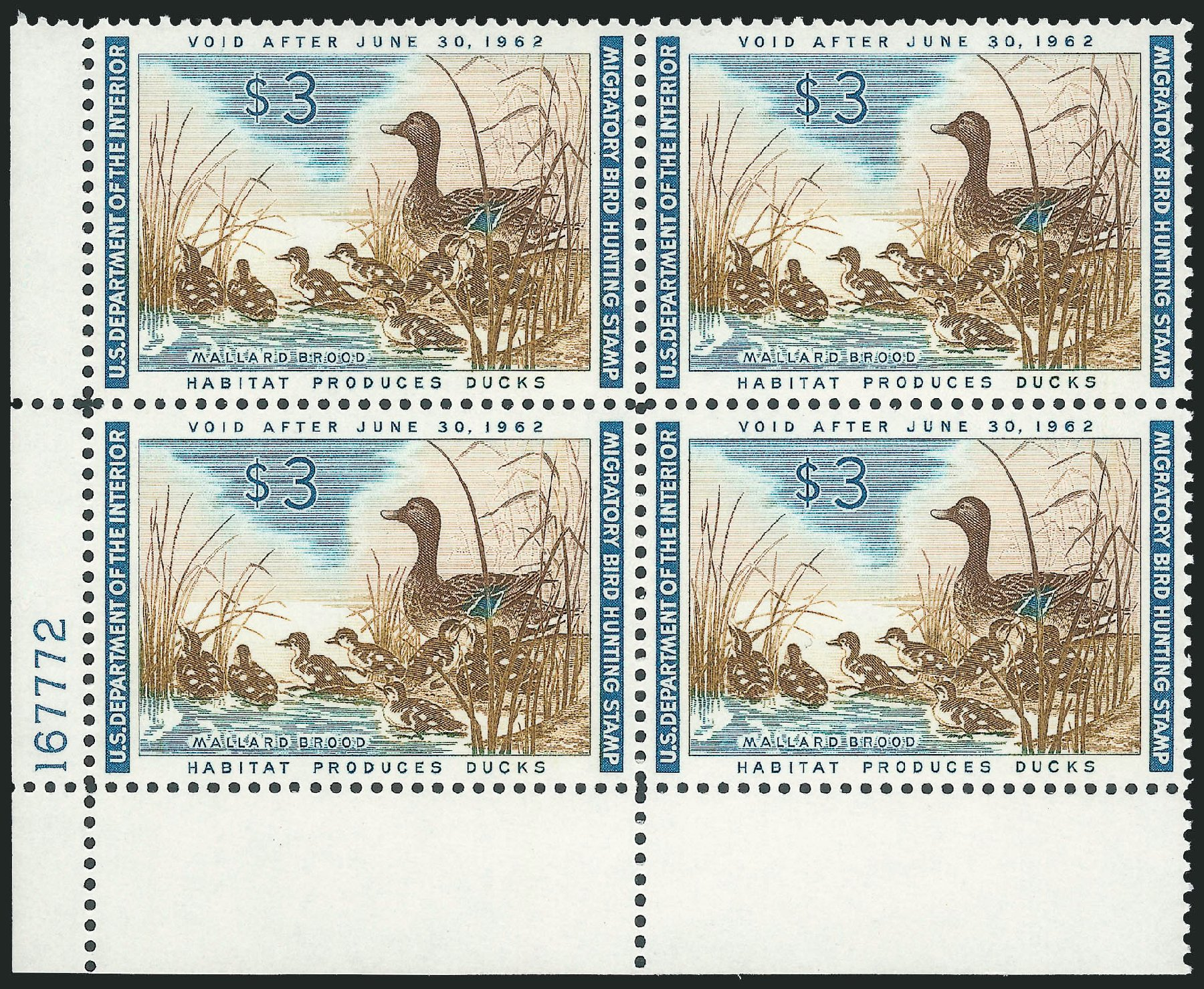 US Stamps Price Scott Catalog # RW28: US$3.00 1961 Federal Duck Hunting. Robert Siegel Auction Galleries, Oct 2011, Sale 1014, Lot 2512