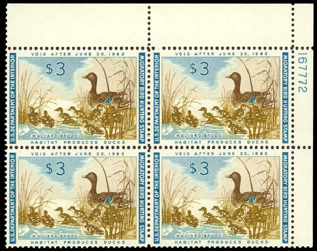 Cost of US Stamp Scott Catalogue # RW28: 1961 US$3.00 Federal Duck Hunting. Daniel Kelleher Auctions, May 2014, Sale 653, Lot 2516
