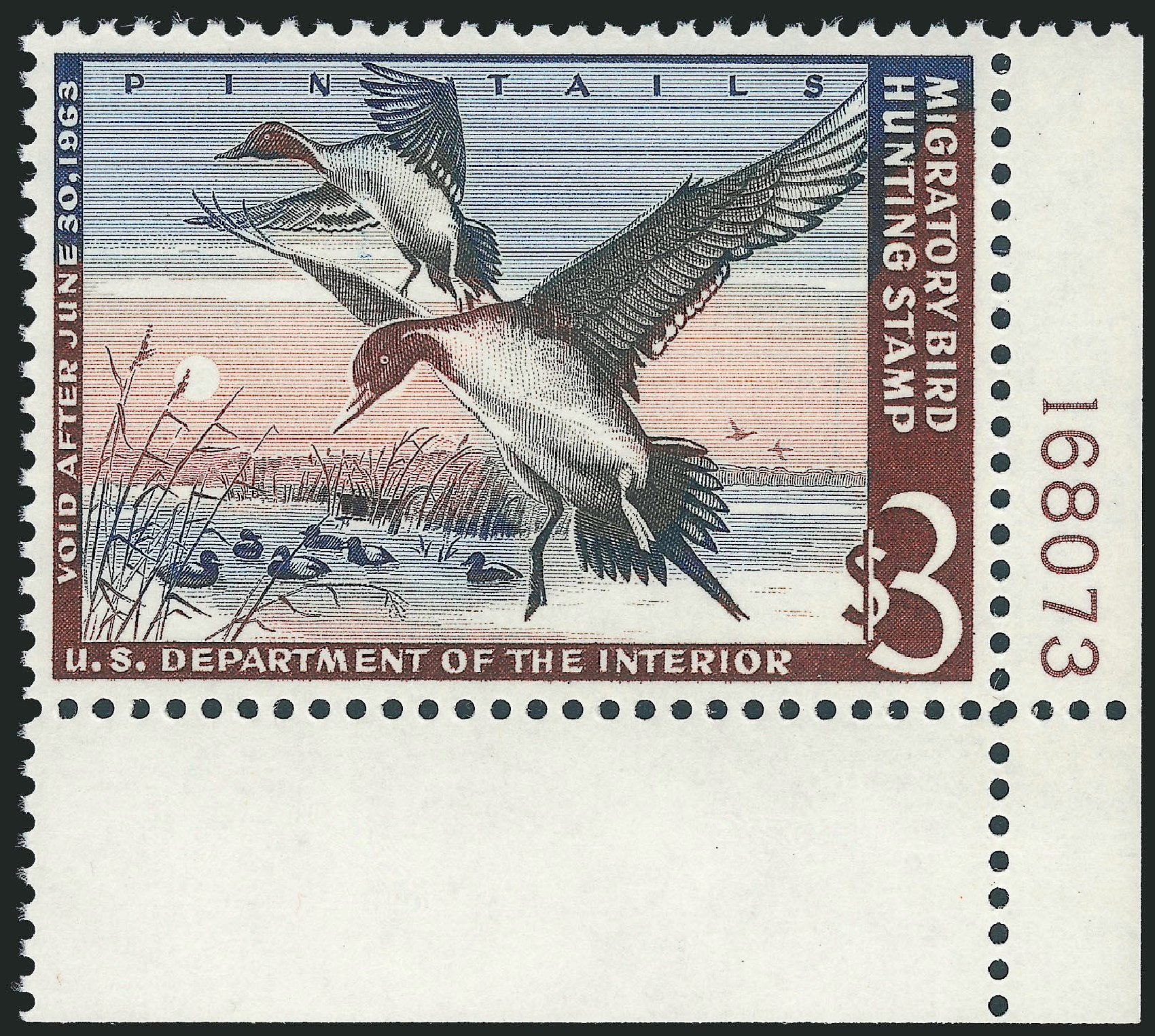 US Stamp Value Scott #RW29 - 1962 US$3.00 Federal Duck Hunting. Robert Siegel Auction Galleries, Mar 2012, Sale 1019, Lot 1087