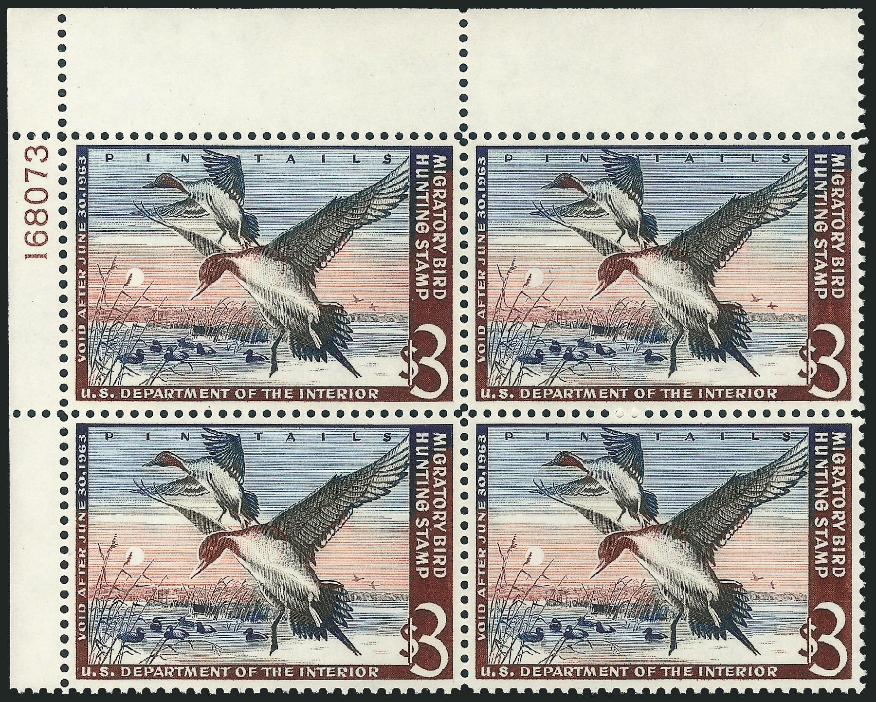 Value of US Stamp Scott Catalogue # RW29: 1962 US$3.00 Federal Duck Hunting. Robert Siegel Auction Galleries, Nov 2013, Sale 1061, Lot 4535