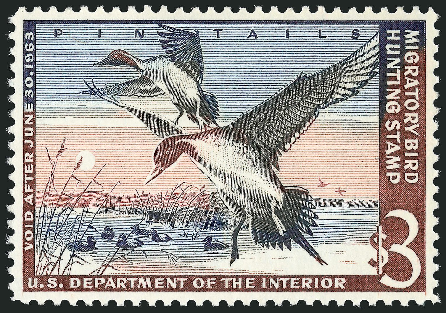 US Stamps Prices Scott #RW29: US$3.00 1962 Federal Duck Hunting. Robert Siegel Auction Galleries, Nov 2013, Sale 1061, Lot 4533