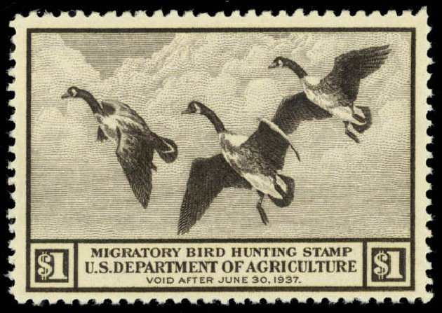 Cost of US Stamp Scott Cat. #RW3: US$1.00 1936 Federal Duck Hunting. Daniel Kelleher Auctions, Oct 2014, Sale 660, Lot 2588
