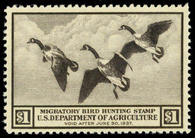 Cost of US Stamp Scott Cat. #RW3: US$1.00 1936 Federal Duck Hunting. Daniel Kelleher Auctions, Oct 2014, Sale 660, Lot 2588
