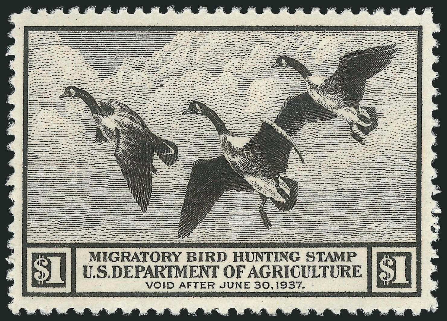 US Stamp Prices Scott Catalog #RW3 - 1936 US$1.00 Federal Duck Hunting. Robert Siegel Auction Galleries, Jul 2014, Sale 1077, Lot 559