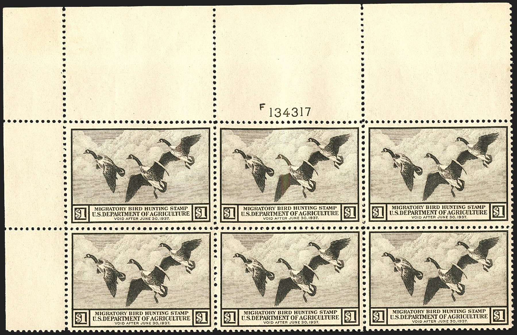 Values of US Stamps Scott Catalog RW3: 1936 US$1.00 Federal Duck Hunting. Robert Siegel Auction Galleries, Jul 2015, Sale 1107, Lot 679