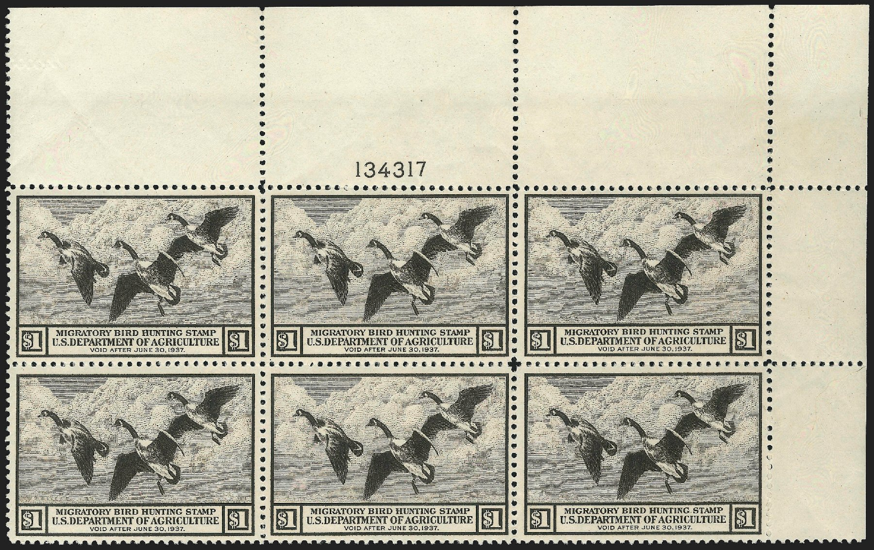 US Stamp Values Scott Catalogue RW3 - US$1.00 1936 Federal Duck Hunting. Robert Siegel Auction Galleries, Jul 2015, Sale 1107, Lot 680