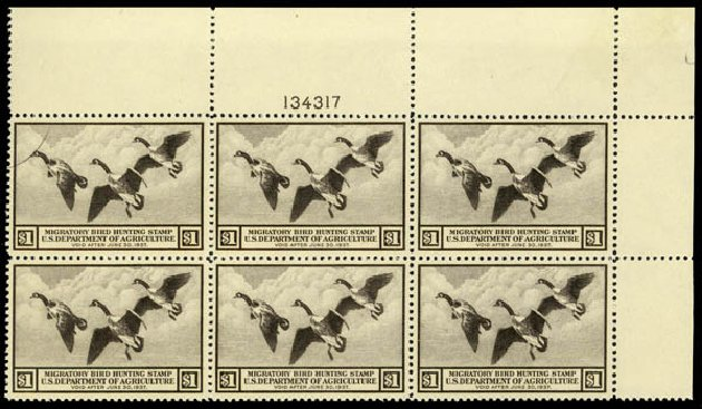 US Stamp Price Scott Catalogue RW3: 1936 US$1.00 Federal Duck Hunting. Daniel Kelleher Auctions, May 2014, Sale 653, Lot 2491