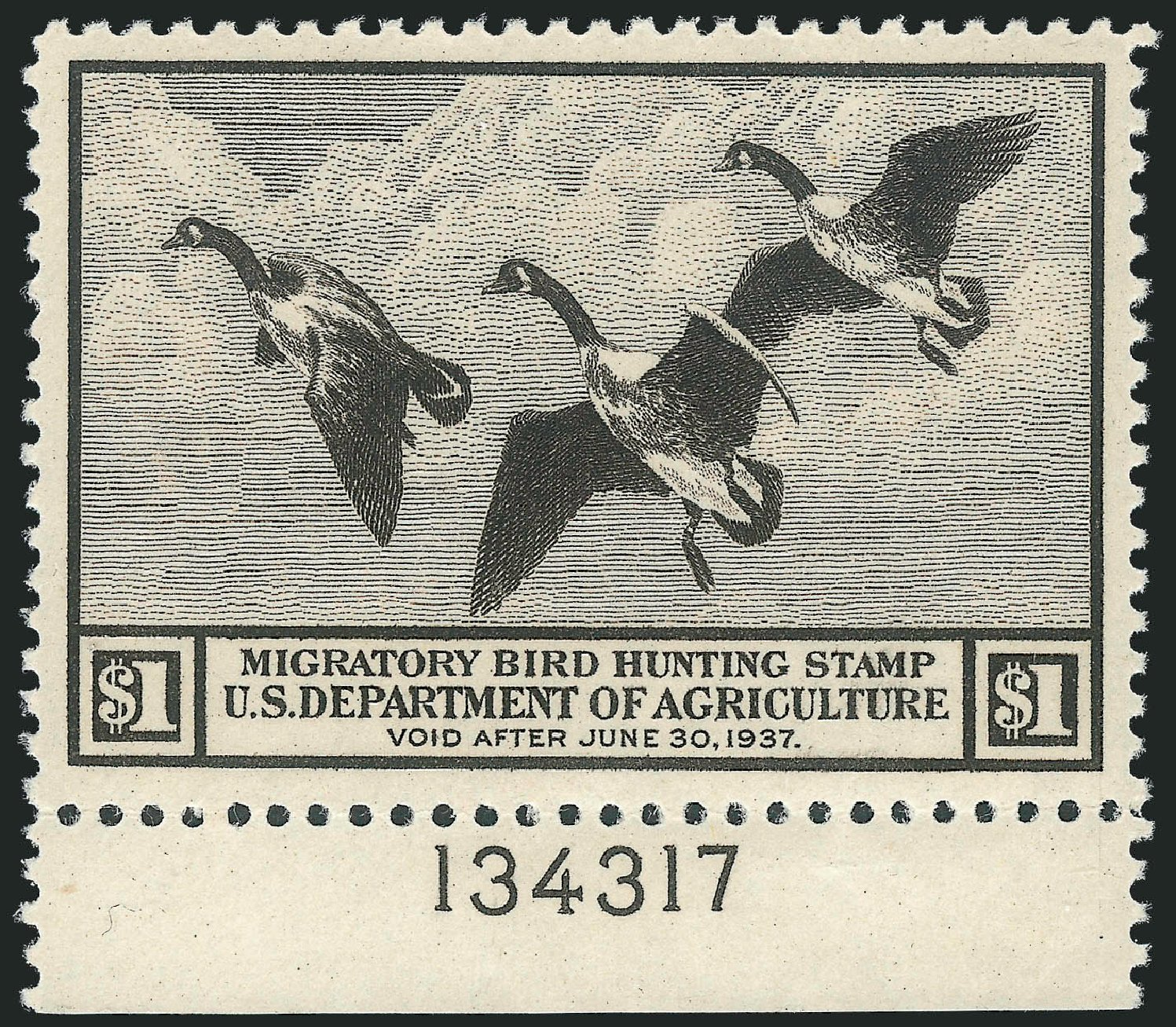 US Stamp Values Scott Catalogue RW3 - US$1.00 1936 Federal Duck Hunting. Robert Siegel Auction Galleries, Nov 2013, Sale 1061, Lot 4514