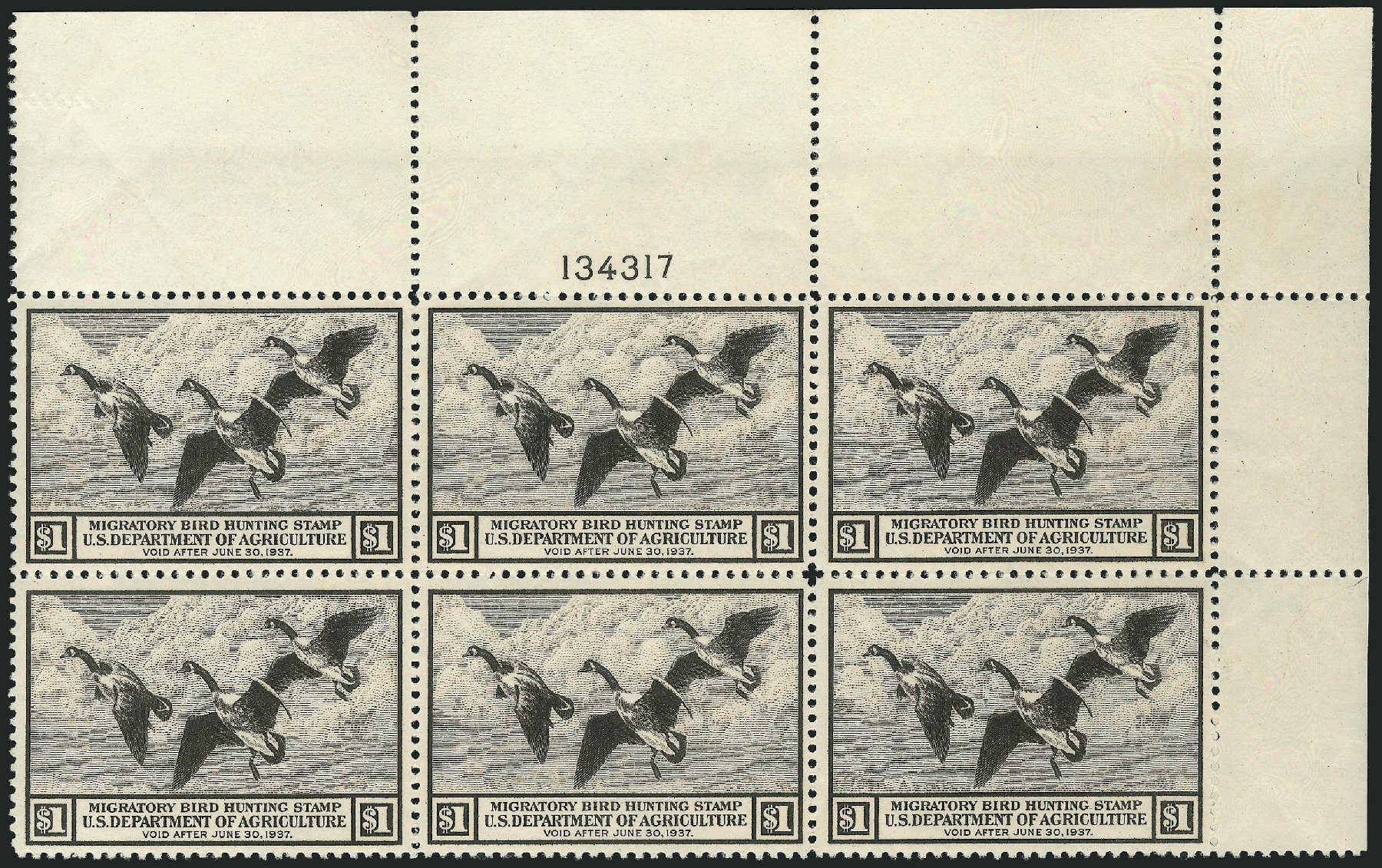 US Stamp Values Scott #RW3 - 1936 US$1.00 Federal Duck Hunting. Robert Siegel Auction Galleries, Apr 2015, Sale 1096, Lot 1034