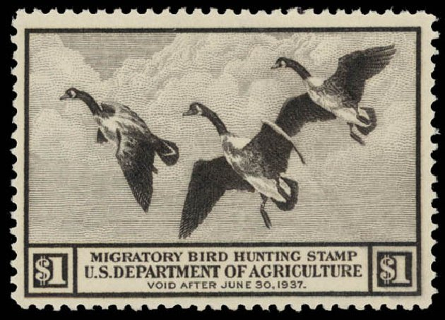 Values of US Stamps Scott # RW3 - US$1.00 1936 Federal Duck Hunting. Daniel Kelleher Auctions, May 2015, Sale 669, Lot 3572