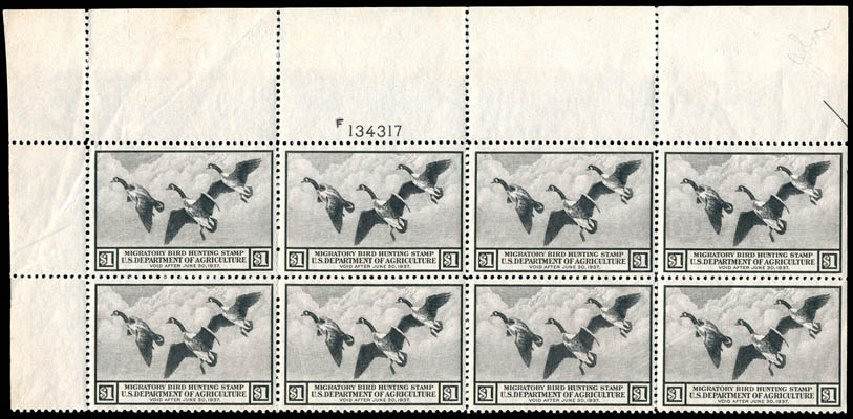 US Stamps Prices Scott Catalogue # RW3: 1936 US$1.00 Federal Duck Hunting. Schuyler J. Rumsey Philatelic Auctions, Apr 2015, Sale 60, Lot 3012
