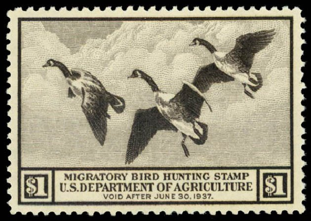 US Stamps Price Scott Cat. RW3: US$1.00 1936 Federal Duck Hunting. Daniel Kelleher Auctions, May 2014, Sale 653, Lot 2343