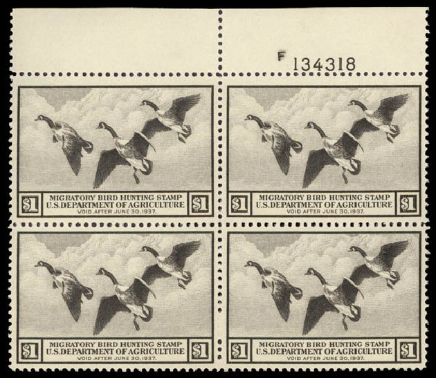 US Stamps Price Scott #RW3: US$1.00 1936 Federal Duck Hunting. Daniel Kelleher Auctions, May 2015, Sale 669, Lot 3573