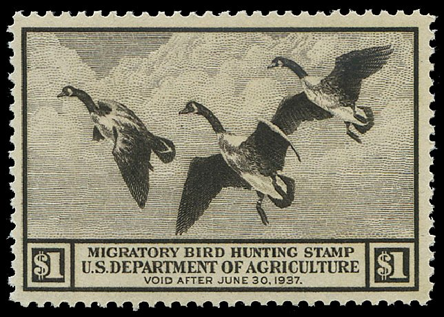 Cost of US Stamps Scott Cat. RW3 - 1936 US$1.00 Federal Duck Hunting. Regency-Superior, Nov 2014, Sale 108, Lot 1633