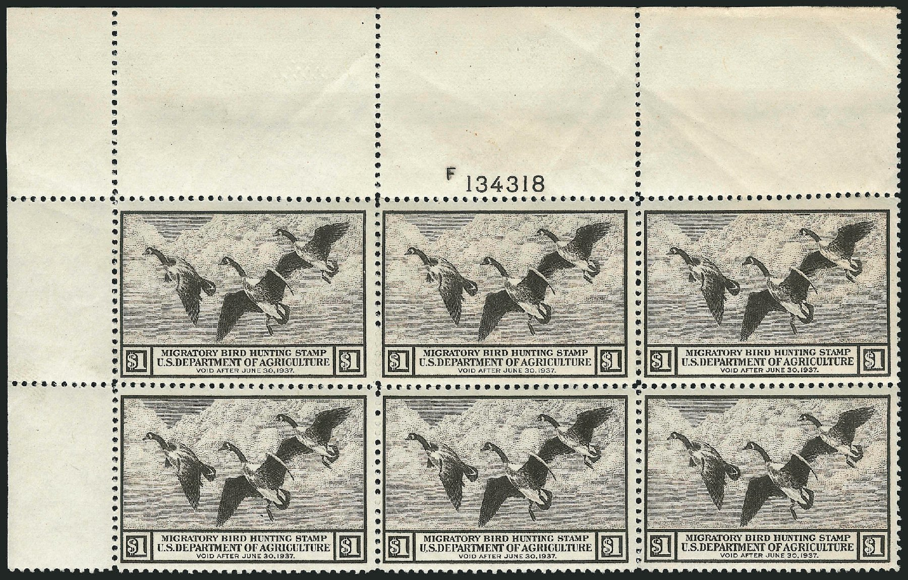US Stamps Value Scott Catalog RW3 - US$1.00 1936 Federal Duck Hunting. Robert Siegel Auction Galleries, Apr 2014, Sale 1068, Lot 443