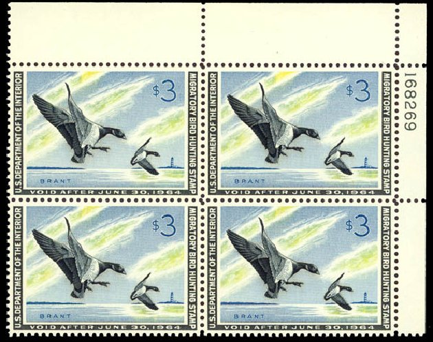 Costs of US Stamps Scott Catalogue #RW30 - US$3.00 1963 Federal Duck Hunting. Daniel Kelleher Auctions, May 2014, Sale 653, Lot 2518