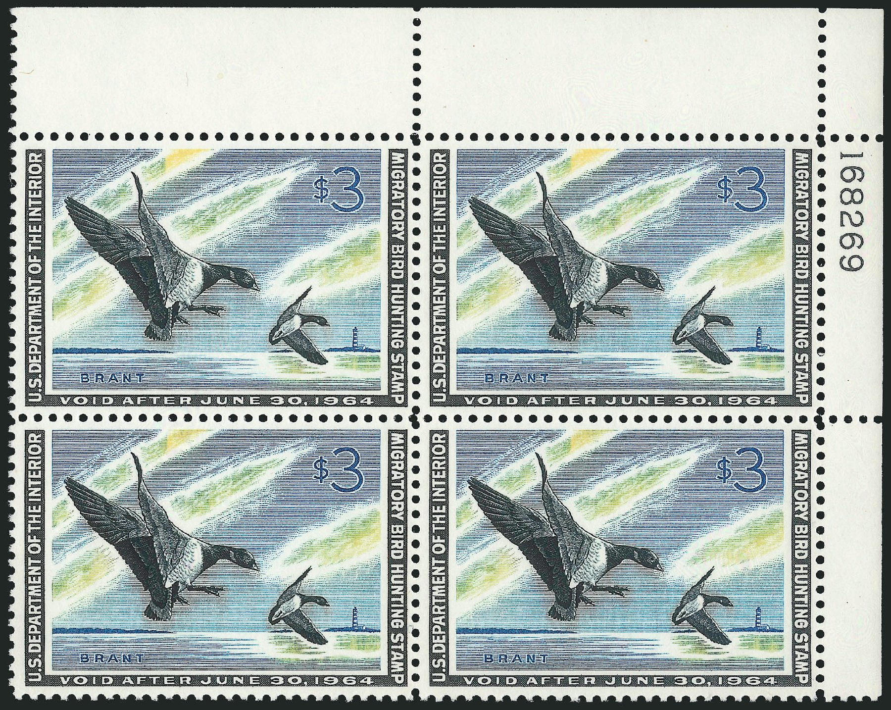 US Stamps Prices Scott Catalogue RW30 - US$3.00 1963 Federal Duck Hunting. Robert Siegel Auction Galleries, Feb 2015, Sale 1092, Lot 1538