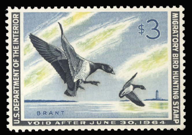 US Stamps Values Scott Catalog #RW30: US$3.00 1963 Federal Duck Hunting. Cherrystone Auctions, Sep 2013, Sale 201309, Lot 40