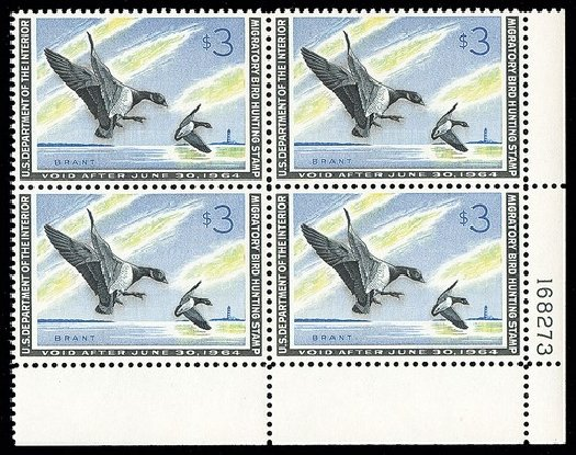 US Stamp Values Scott Cat. #RW30: US$3.00 1963 Federal Duck Hunting. Spink Shreves Galleries, May 2014, Sale 148, Lot 410