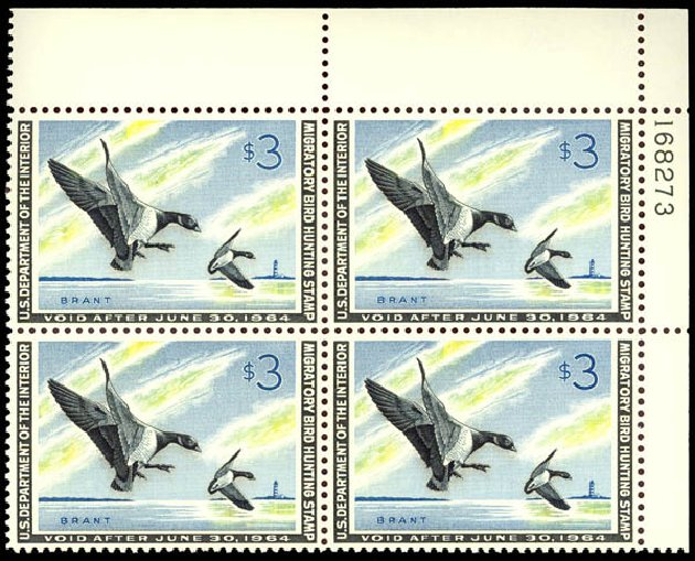 Costs of US Stamp Scott Cat. # RW30 - US$3.00 1963 Federal Duck Hunting. Daniel Kelleher Auctions, Sep 2013, Sale 639, Lot 3854