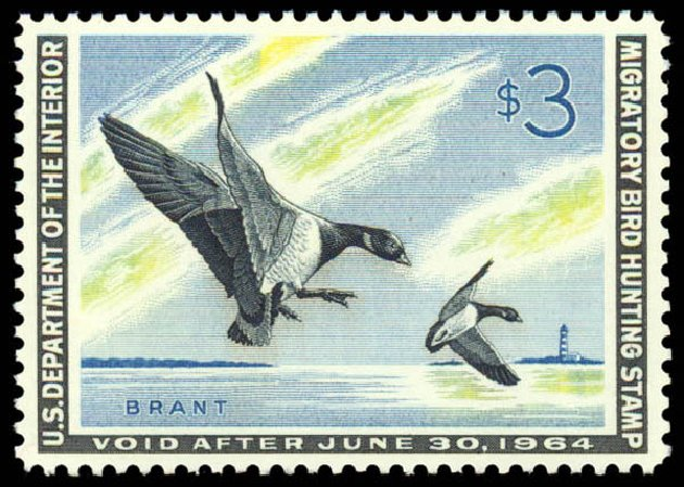 US Stamps Values Scott Catalogue RW30: US$3.00 1963 Federal Duck Hunting. Daniel Kelleher Auctions, May 2014, Sale 653, Lot 2364