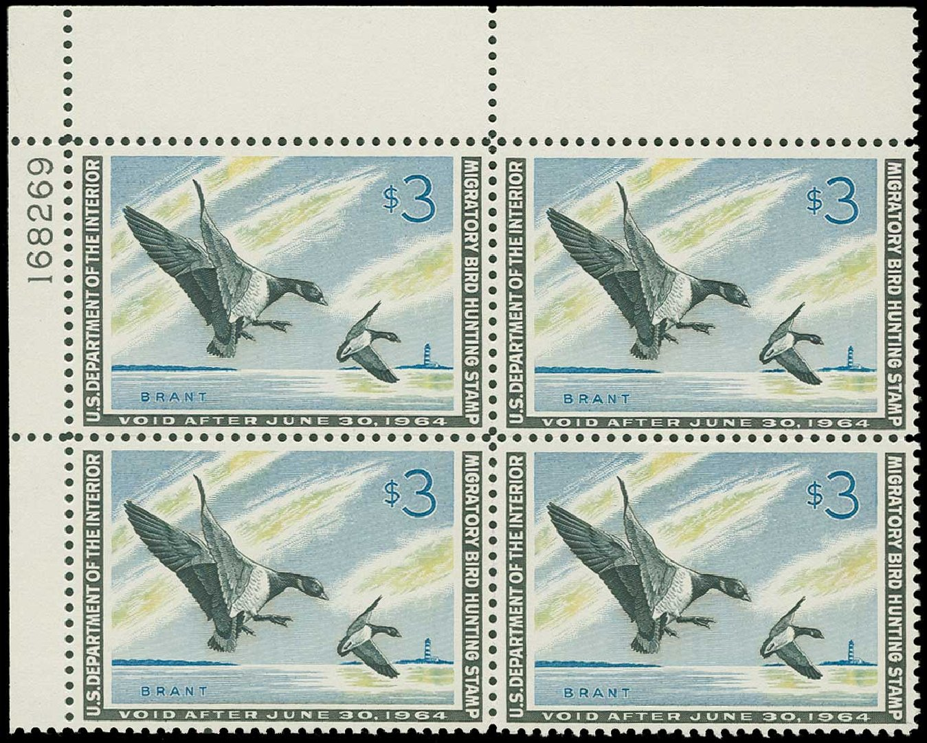 Price of US Stamps Scott Cat. # RW30 - 1963 US$3.00 Federal Duck Hunting. H.R. Harmer, Jun 2015, Sale 3007, Lot 3602