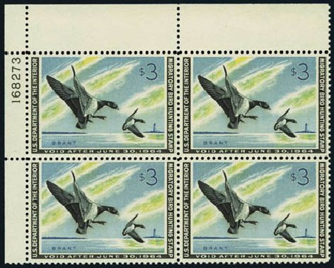 US Stamps Values Scott Catalogue # RW30: US$3.00 1963 Federal Duck Hunting. Harmer-Schau Auction Galleries, Aug 2012, Sale 94, Lot 2013