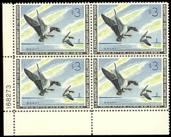 US Stamp Value Scott Catalogue # RW30 - US$3.00 1963 Federal Duck Hunting. Daniel Kelleher Auctions, Oct 2011, Sale 626, Lot 696