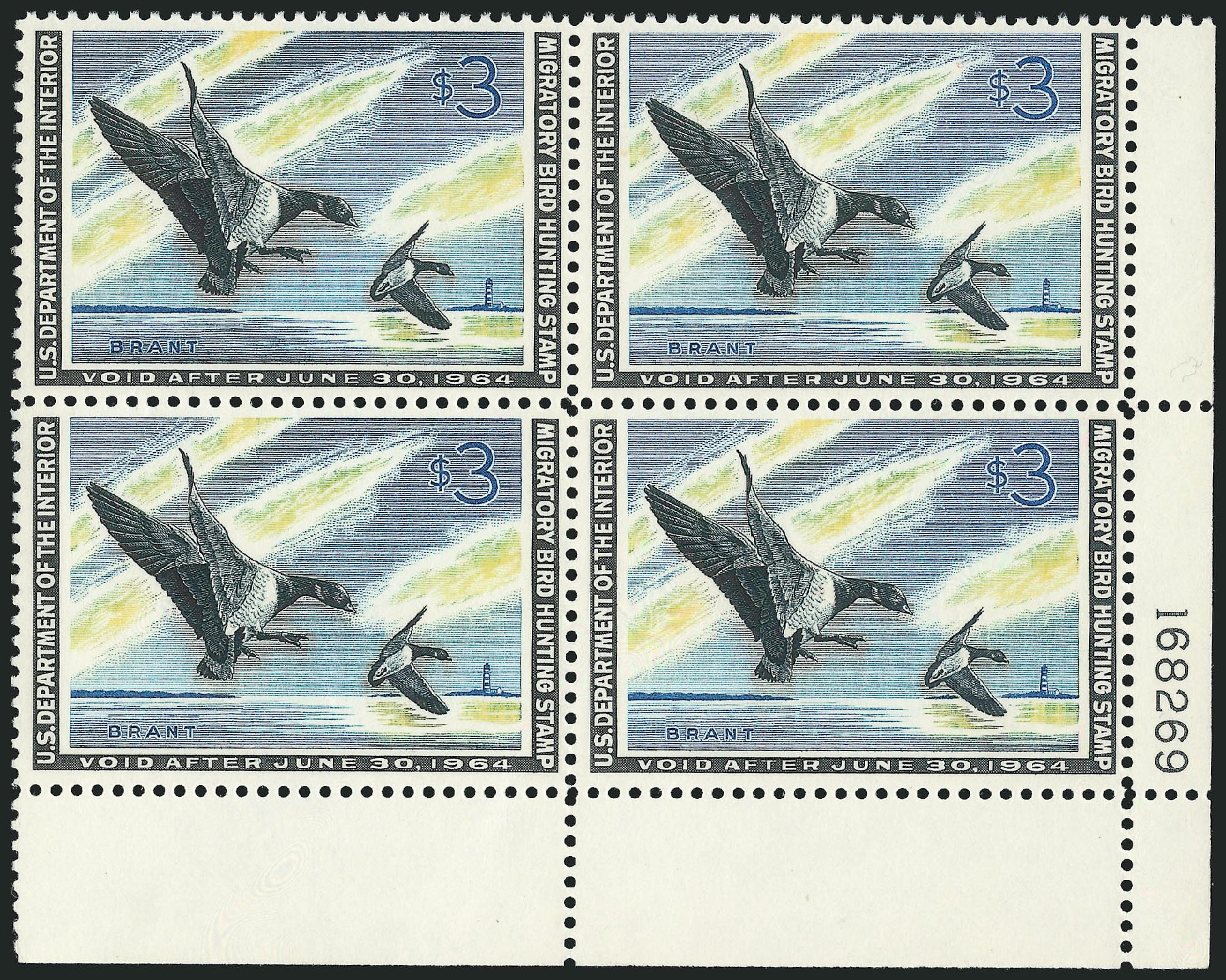 US Stamps Prices Scott RW30 - US$3.00 1963 Federal Duck Hunting. Robert Siegel Auction Galleries, Feb 2015, Sale 1092, Lot 1536