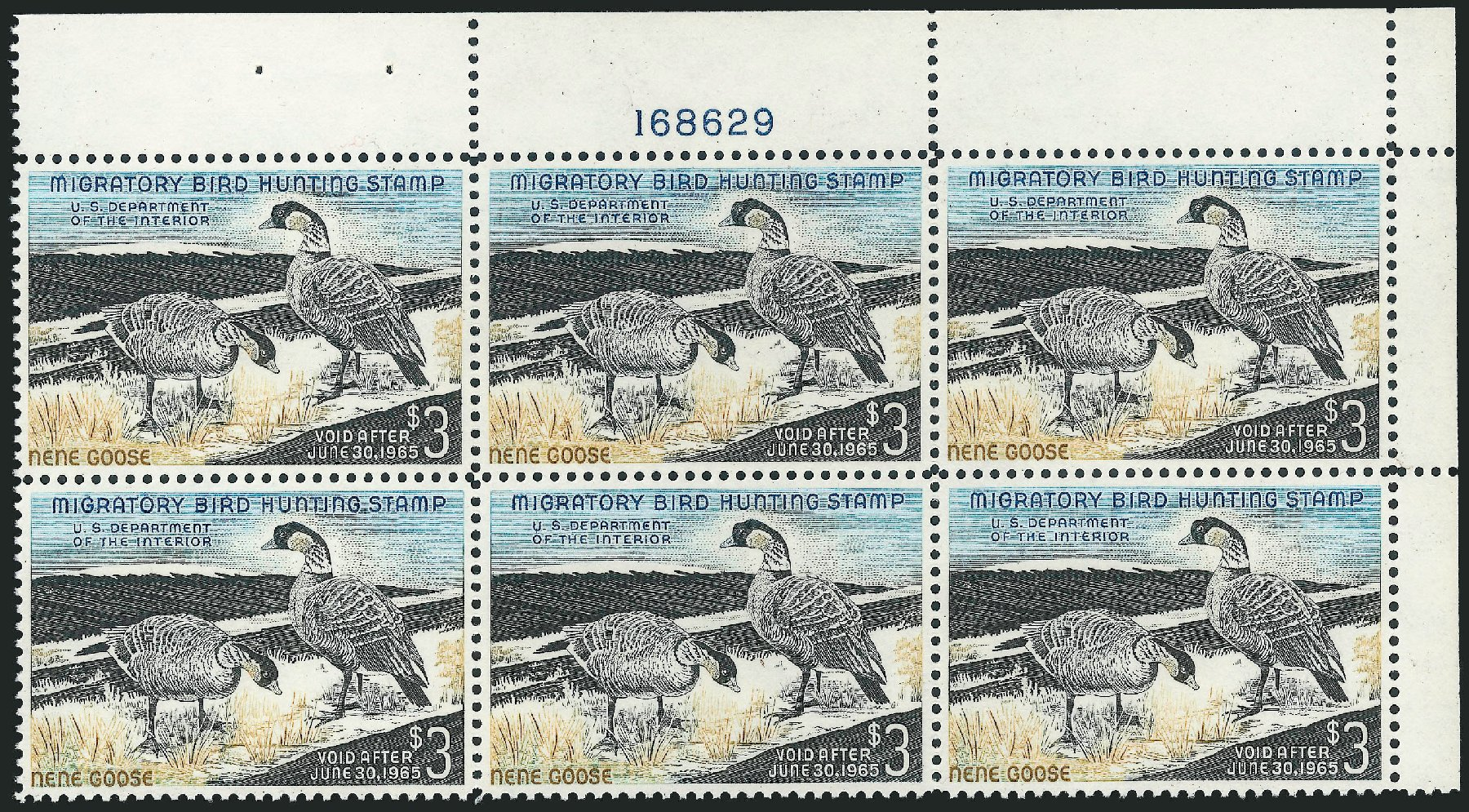 US Stamps Values Scott Catalogue # RW31 - 1964 US$3.00 Federal Duck Hunting. Robert Siegel Auction Galleries, Nov 2013, Sale 1061, Lot 4537