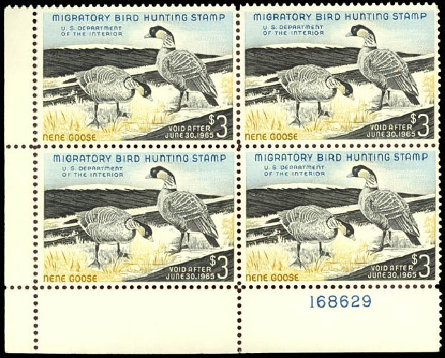 Prices of US Stamp Scott Cat. # RW31 - US$3.00 1964 Federal Duck Hunting. Daniel Kelleher Auctions, May 2014, Sale 652, Lot 1008