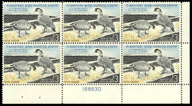 US Stamps Values Scott Catalogue #RW31: 1964 US$3.00 Federal Duck Hunting. Daniel Kelleher Auctions, Oct 2012, Sale 632, Lot 1635