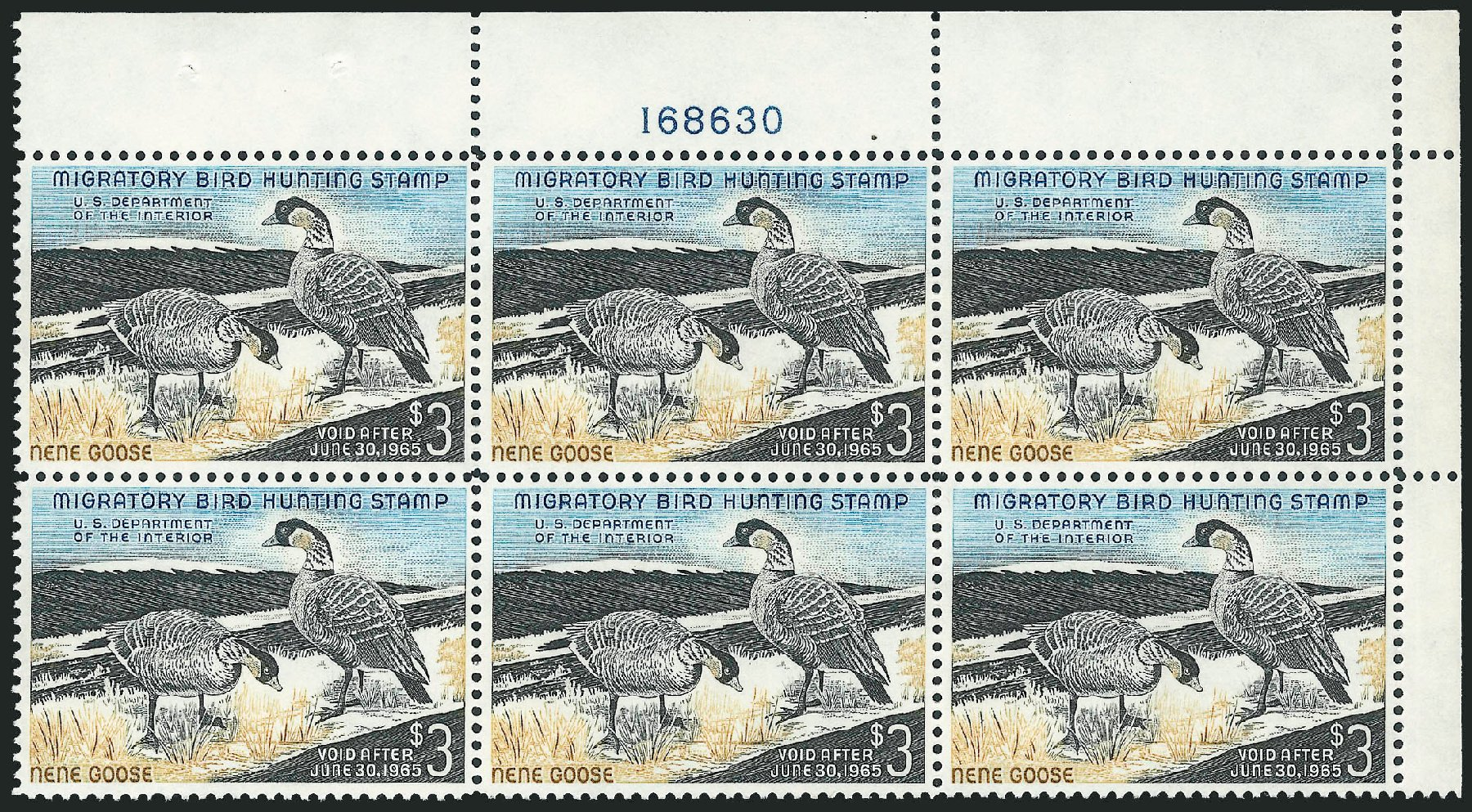 US Stamp Value Scott Catalogue RW31 - US$3.00 1964 Federal Duck Hunting. Robert Siegel Auction Galleries, Oct 2011, Sale 1014, Lot 2513