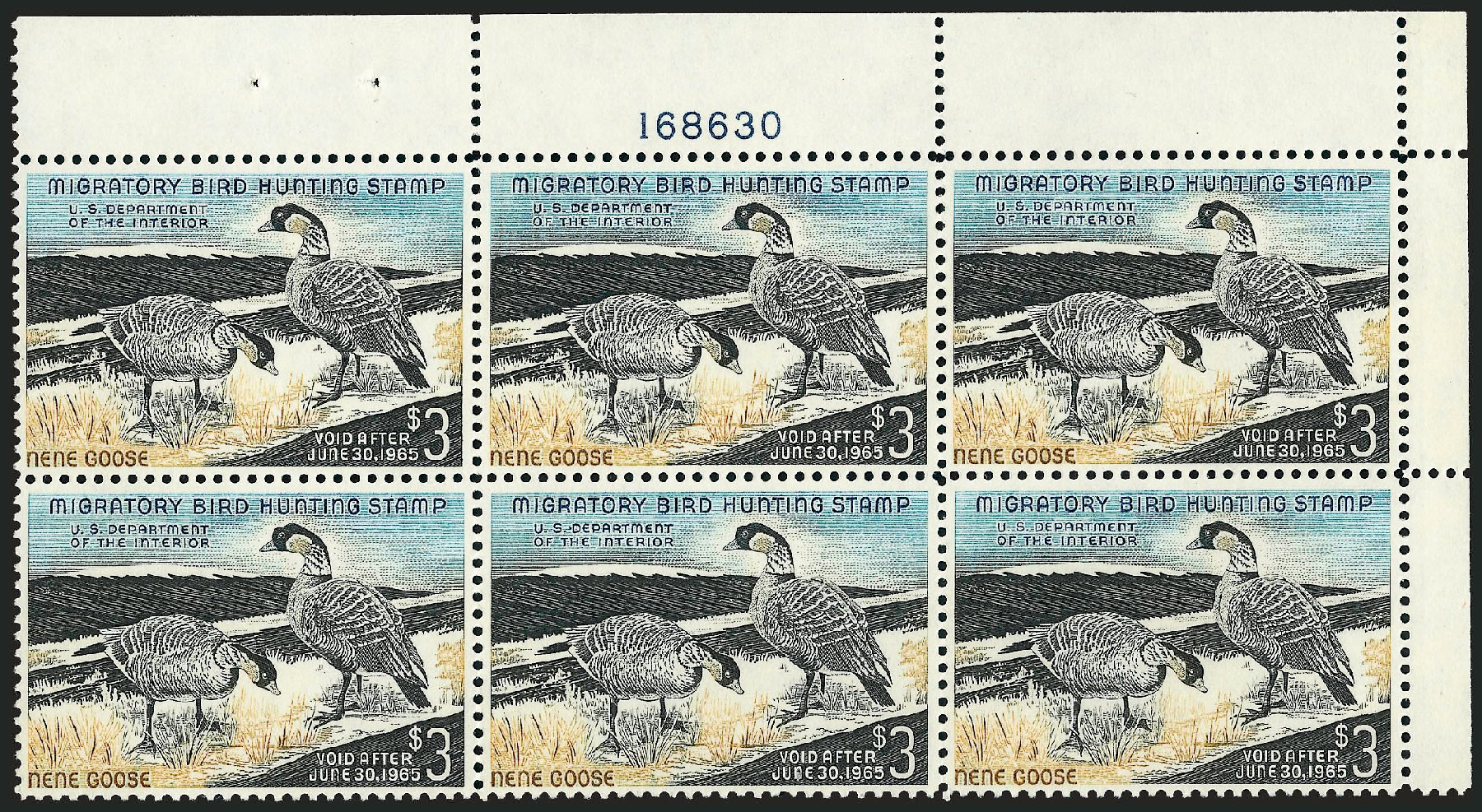 Cost of US Stamps Scott Cat. RW31 - 1964 US$3.00 Federal Duck Hunting. Robert Siegel Auction Galleries, Dec 2009, Sale 982, Lot 6216