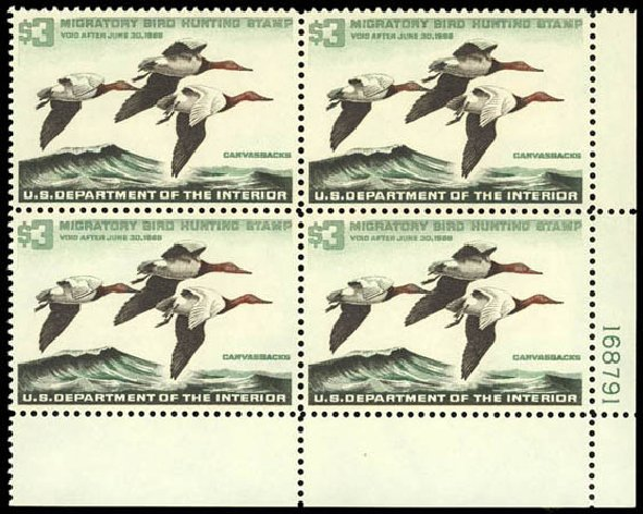 US Stamps Value Scott # RW32 - 1965 US$3.00 Federal Duck Hunting. Daniel Kelleher Auctions, Jul 2011, Sale 625, Lot 1327
