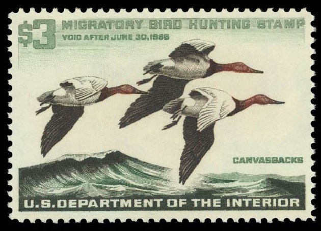 Price of US Stamp Scott Cat. # RW32 - 1965 US$3.00 Federal Duck Hunting. Daniel Kelleher Auctions, Oct 2011, Sale 626, Lot 697