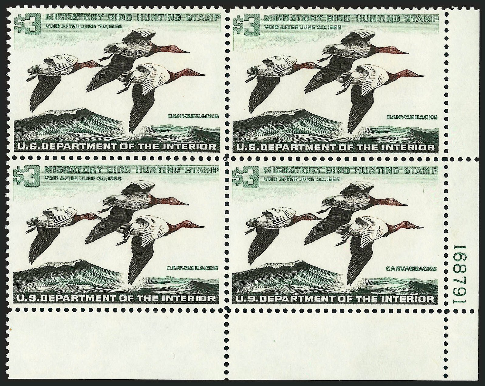 US Stamps Values Scott Cat. # RW32: US$3.00 1965 Federal Duck Hunting. Robert Siegel Auction Galleries, Dec 2009, Sale 982, Lot 6217
