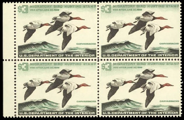 Cost of US Stamps Scott Cat. #RW32: US$3.00 1965 Federal Duck Hunting. Daniel Kelleher Auctions, Oct 2011, Sale 626, Lot 699