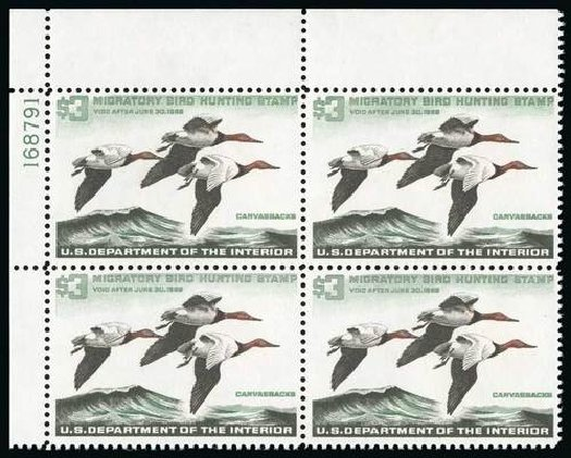 US Stamp Value Scott Catalog RW32 - 1965 US$3.00 Federal Duck Hunting. Spink Shreves Galleries, Jul 2015, Sale 151, Lot 449