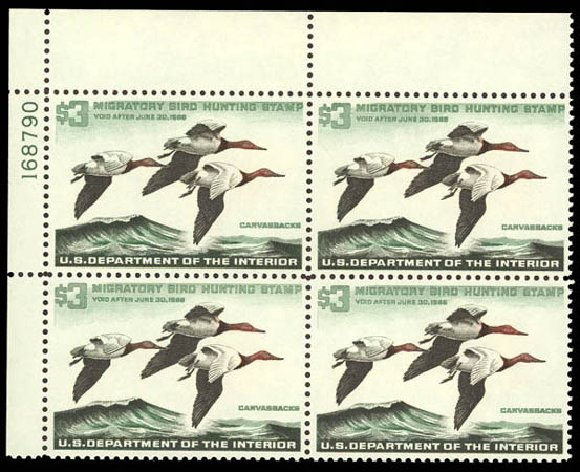 Cost of US Stamps Scott Catalog # RW32 - 1965 US$3.00 Federal Duck Hunting. Daniel Kelleher Auctions, Oct 2011, Sale 626, Lot 700
