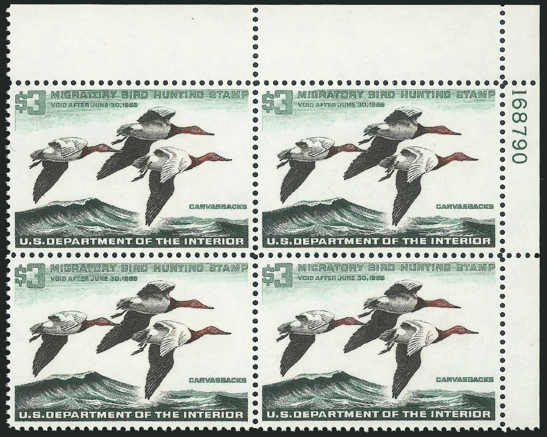 US Stamps Prices Scott Catalog RW32 - 1965 US$3.00 Federal Duck Hunting. Robert Siegel Auction Galleries, Mar 2011, Sale 1007, Lot 3191