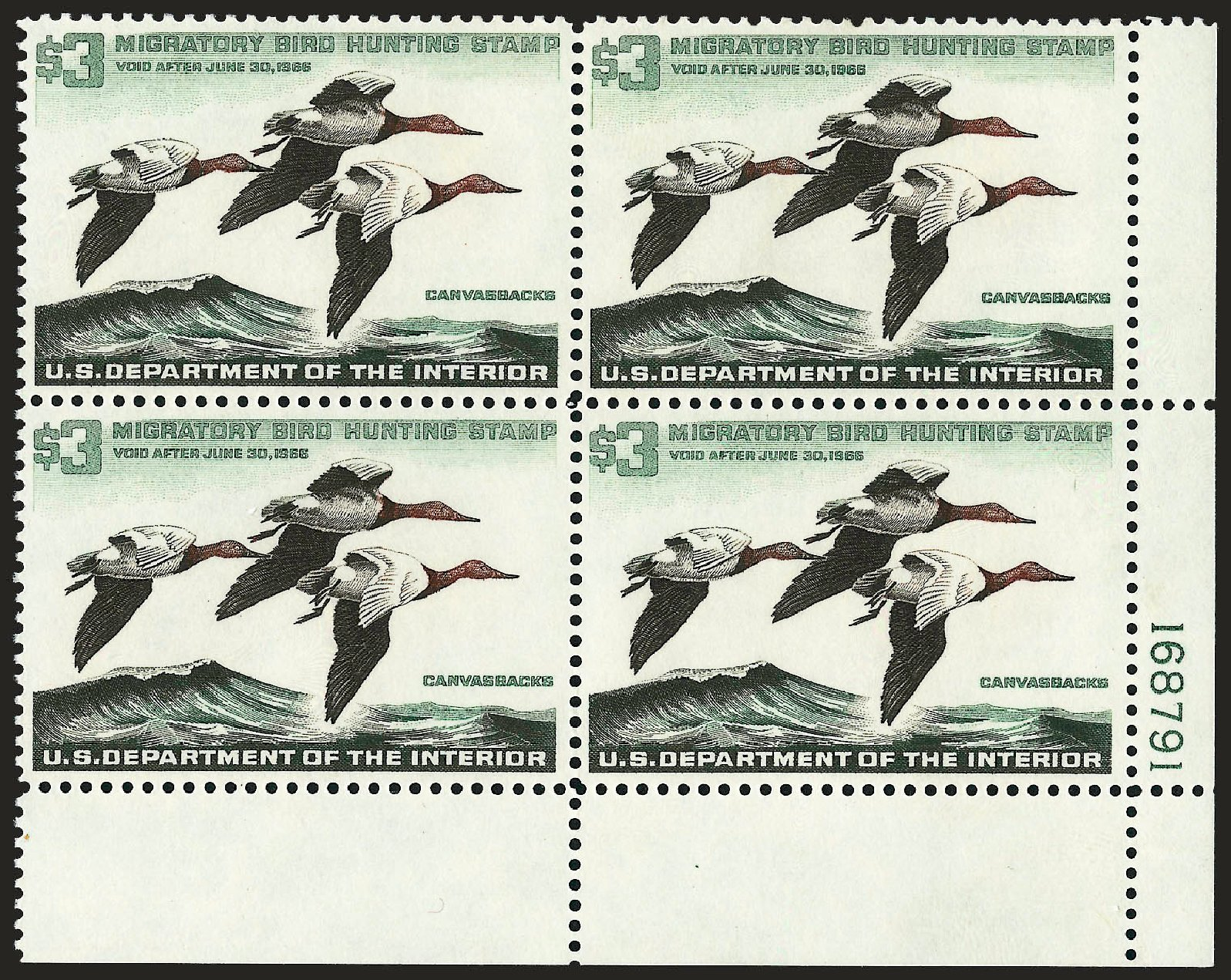 US Stamp Value Scott Catalogue # RW32 - US$3.00 1965 Federal Duck Hunting. Robert Siegel Auction Galleries, Sep 2008, Sale 962, Lot 3095