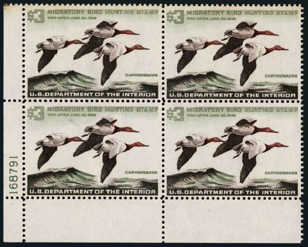 US Stamps Value Scott # RW32: US$3.00 1965 Federal Duck Hunting. Harmer-Schau Auction Galleries, Nov 2014, Sale 103, Lot 182