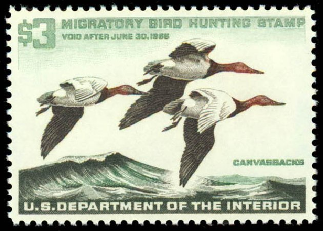 US Stamps Value Scott Catalog RW32: US$3.00 1965 Federal Duck Hunting. Daniel Kelleher Auctions, May 2014, Sale 653, Lot 2366