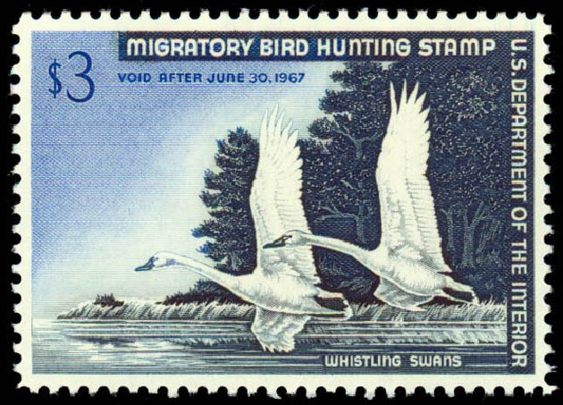 US Stamps Prices Scott Catalog # RW33 - US$3.00 1966 Federal Duck Hunting. Daniel Kelleher Auctions, May 2014, Sale 653, Lot 2367