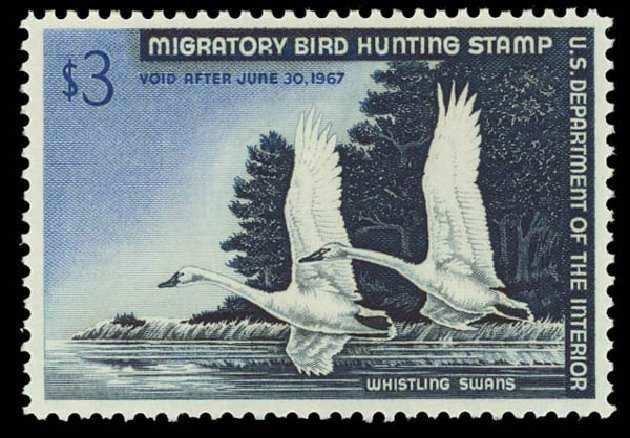 US Stamp Prices Scott Catalog #RW33 - US$3.00 1966 Federal Duck Hunting. Daniel Kelleher Auctions, Oct 2011, Sale 626, Lot 701