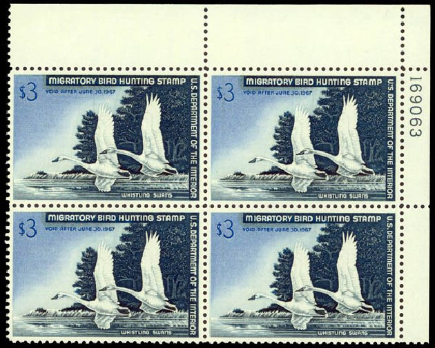 US Stamp Values Scott Catalogue #RW33 - 1966 US$3.00 Federal Duck Hunting. Daniel Kelleher Auctions, May 2014, Sale 653, Lot 2521