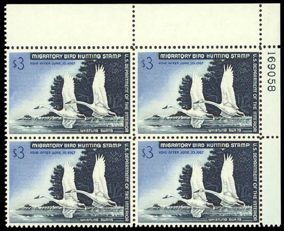 Value of US Stamps Scott # RW33: US$3.00 1966 Federal Duck Hunting. Daniel Kelleher Auctions, Oct 2011, Sale 626, Lot 702