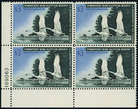 Price of US Stamps Scott RW33: 1966 US$3.00 Federal Duck Hunting. Harmer-Schau Auction Galleries, Aug 2012, Sale 94, Lot 2016